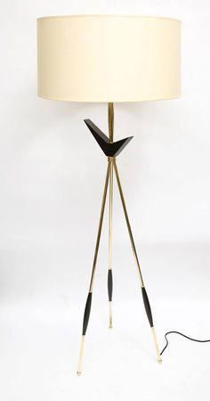 Brass and Lacquered Wood Floor Lamp | Gerald Thurston for Lightolier | 1950s
