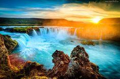 Wodospad, Zachód, Słońca, Skały