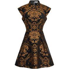 *Chi Chi London petite Blue Metallic Jacquard Dress ($75) ❤ liked on Polyvore featuring dresses, blue, petite, blue day dress, blue dress, brown dress, chi chi dresses and blue color dress