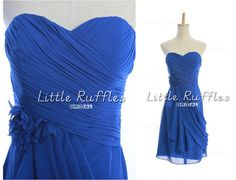 Royal Blue Bridesmaid DressChiffon Prom by LittleRufflesBridal, $88.00