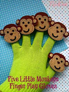 5 Little Monkeys Finger Play Gloves, Five Little Monkeys Book and Craft