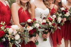 Bold red peonies coordinate with red tea-length bridesmaid dresses | Wedgewood Menifee Lakes | Photographer: Sara Lucero