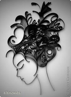 Картина панно рисунок Мастер-класс Квиллинг Профиль девушки + мини МК Бумажные полосы фото 1