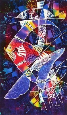 Original Batik Art Painting on Cotton, 'Ocean' by Zabid   asiansecrets - Art on ArtFire