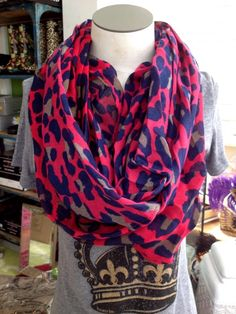 Fleurty Girl - Everything New Orleans - Fuchsia Leopard Infinity Scarf - New
