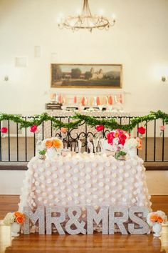 Obsessed with this bride and groom table: http://www.stylemepretty.com/little-black-book-blog/2015/01/08/colorful-summer-santa-barbara-wedding/   Photography: Ashleigh Taylor - http://www.ashleightaylorphotography.com/