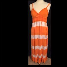 Last chance Orange & White Long Maxi Dress Flattering on and eyes will on you. Cha Cha Vente Dresses Maxi