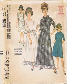 1960s Misses Nightgown Robe McCalls 7526 Vintage Sewing Pattern Size 12 Bust 32