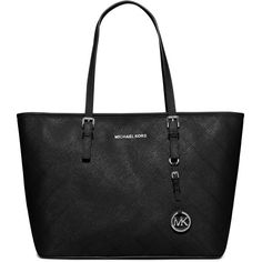 MICHAEL Michael Kors Jet Set Travel Zip-Top Quilted Saffiano Tote Bag (395 CAD) ❤ liked on Polyvore featuring bags, handbags, tote bags, black, black tote, black quilted tote bag, black zipper tote, zippered tote and black purse
