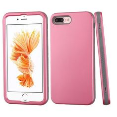 For iPhone 7 Plus / 8 Plus Case, Kaleidio [Verge] 3-Piece Hybrid Shockproof Rugged Impact Silicone Interior Cover [Includes a Overbrawn Prying Tool] [Pearl Pink/Grey]