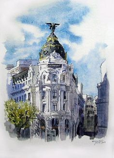 Alcalá con Gran Vía. Madrid. Watercolor Architecture, Architecture Sketchbook, Watercolor Landscape, Art Sketchbook, Architecture Art, Watercolor Sketch, Watercolor Paintings, Art Sketches, Art Drawings