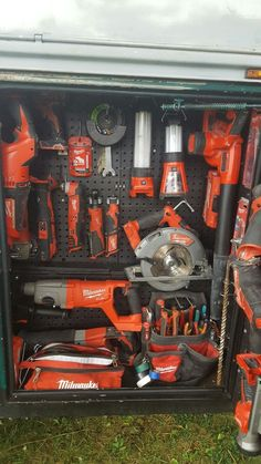Milwaukee cordless tool layout in my utility body