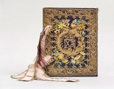 A French royal bookbinding  (for queen Maria de' Medici), embroidered silk, 1629  Currently at the Chateau de Chantilly