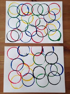 Olympic Rings Painting Using Dixie Cups - Olympic Craft - Preschool Craft