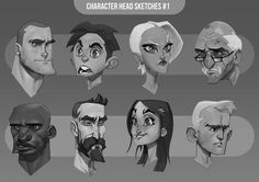 Character head sketches #1, Max Grecke on ArtStation at http://www.artstation.com/artwork/character-head-sketches-1: