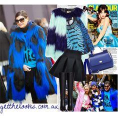 """Rock a statement fur coat like Giovanna Battaglia"" by getthelooks on Polyvore STRIPED FUR COAT WITH COLOUR CONTRAST http://getthelooks.com.au/striped-fur-coat-with-colour-contrast eBay: http://cgi.ebay.com.au/ws/eBayISAPI.dll?ViewItem&item=181605489864&ssPageName=STRK:MESCX:IT  IT NEOPRENE TULIP SKIRT IN BLACK http://getthelooks.com.au/it-neoprene-tulip-skirt-in-black"