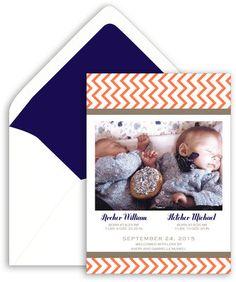 Chevron Stripe Photo Birth Announcements