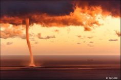 Photograph The perfect storm by Emanuele Crovetto on 500px Waterspout at sunset off the Gulf of Genova.