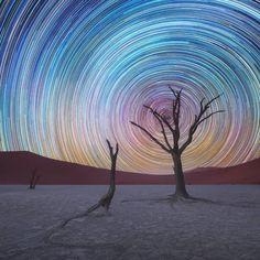 Van Gogh-ossá fotózott csillagos egek a Namib-sivatag felett - 4. kép