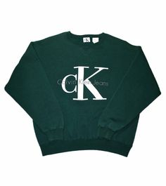 Vintage 90s Calvin Klein Green Crewneck Sweatshirt Made in USA Mens Size Small $40.00