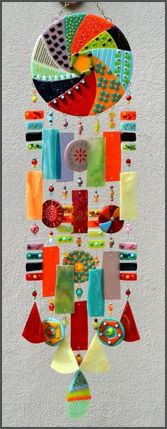 Kirk's Glass Art fused and stained glass windchimes Imagine these in clay - Aboriginal art designs! Fused Glass Art, Mosaic Glass, Mobiles, Glass Wind Chimes, Stained Glass Patterns, Hanging Wall Art, Yard Art, Cut Glass, Glass Ornaments