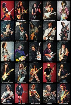 Guitar Art Print featuring the digital art Greatest Guitarists Of All Time by Zapista Zapista Rock And Roll, Pop Rock, Rock Posters, Band Posters, Guitar Art, Music Guitar, Hard Rock, Famous Guitars, Best Guitarist
