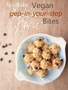 No-Bake Vegan Pep-in-Your-Step Bites (Gluten Free) - These protein bites benefit from the winning combination of peanut butter and chocolate chips. From there, add in healthy favorites like oats, ground flax, almond meal and unsweetened shredded coconut. Vegan Appetizers, Vegan Snacks, Vegan Desserts, Healthy Snacks, Kid Snacks, Vegan Food, Protein Bites, Energy Bites, Vegetarian Recipes