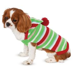 Pet Candy Striped Christmas Sweater Costume, Multicolor