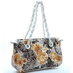 Classic Flower Pattern Faux Leather Purse