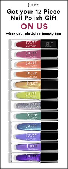 Sign up for the Julep beauty box now and get our best-selling 12-piece nail polish set ($168 value) FREE + Free shipping. Hurry! Offer ends 7/7.