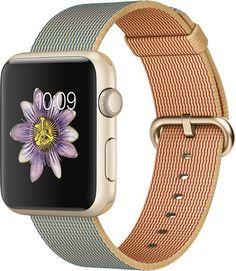 Apple - Apple Watch Sport 42mm Gold Aluminum Case - Gold/Royal Blue Woven Nylon Band