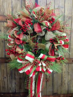 Rustic Christmas Burlap Wreath by WilliamsFloral on Etsy, $105.00