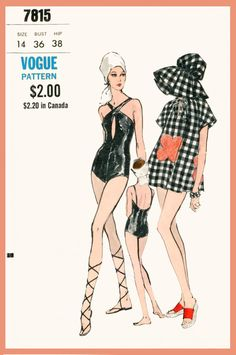 Late 1960s early 1970s era womens cover-up, one-piece swimsuit and sun hat. Loose-fitting cover-up with cap sleeves has drawstring neckline