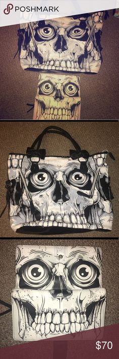 Iron fist Purse & wallet Iron Fist skeleton purse with wallet. Slightly used. But still in great condition. Iron Fist Bags Totes