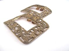 Gold Tone Shoe Clips Steel Shoe Buckle Filigree by vgvintage