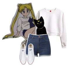 Sailor Moon Style #2 by cassidyrea on Polyvore featuring polyvore, fashion, style, H&M, Converse and clothing