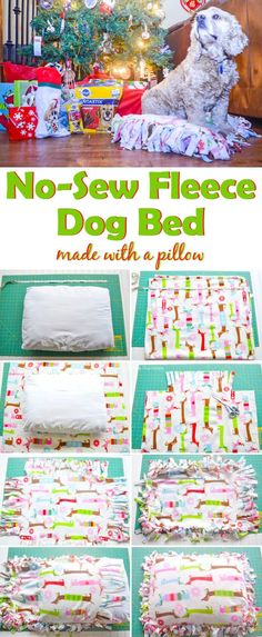 No-Sew Fleece Dog Bed - A fun and easy tutorial for creating an inexpensive dog bed. It's made with fleece and a pillow does not require any sewing. AD #dog #DIY