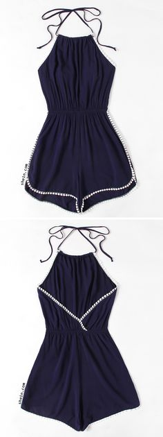 Halter Neck Lace Trim Romper