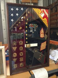 Woodworking Tips Product Marine Corps, Military Shadow Box, Military Box, Military Dating, Military Retirement Parties, Retirement Quotes, Shadow Box Display Case, Display Cases, Military Careers