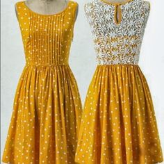 Anthropologie Polka-Dot Fit&Flare Pleated Dress This is a super cute fit and flare pleated dress from Anthropologie with white polka-dots on a yellow cotton fabric with crochet detailing! The dress is in fantastic condition - the only damage is a small tear in the crochet on the strap of the dress (pictured). The pleats give it its gorgeous flare! Perfect for summer picnics! Zip closure. Anthropologie Dresses Midi