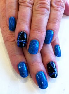 """This fabulous colour from Bio Sculpture Gel is - Prince & """"party finger"""" is in - Liquorice with 3 different shades of blue striping tape Princesse Party, Bio Sculpture Gel Nails, Striping Tape, Shades Of Blue, Finger, Girly, Colour, Manicures, My Style"""