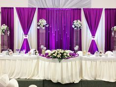 Not to mention wedding decoration. Because wedding decors give important tips to the guests in terms of reflecting the style of the couple to be married. Wedding Draping, Wedding Stage, Our Wedding, Stage Decorations, Wedding Reception Decorations, Wedding Venues, Purple Wedding, Trendy Wedding, Head Table Backdrop