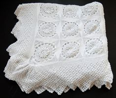 Vintage French Hand Crocheted Bed Coverlet by Vintagefrenchlinens