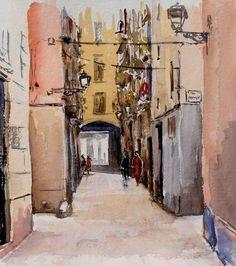 Joshemari Larrañaga: calle Trompetas, barrio de la Ribera (Barcelona) ACUARELAS: marzo 2014