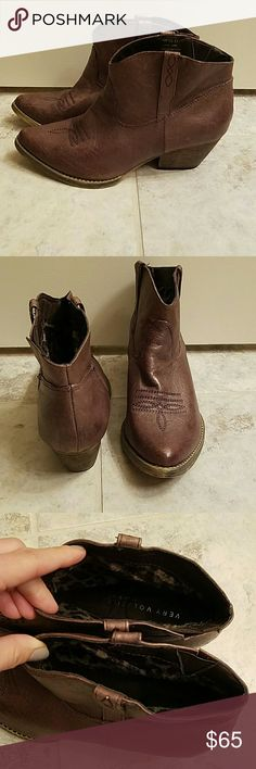 """Cowboy Booties Size 8.5 """"Very  Volatile"""" booties, great condition only worn a handful of times, leather upper, slight heel, animal print on the inside of the boots Very Volatile Shoes Ankle Boots & Booties"""
