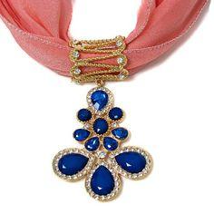 Amazon.com: Scarf Charm with Blue Teardrop Pendant: Jewelry
