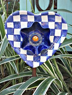 Heart Plate Flower Garden Whimsy Blue and by GardenWhimsiesByMary