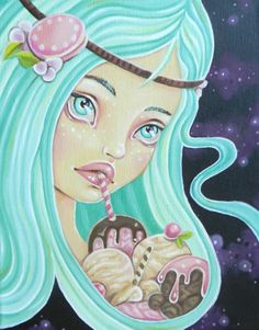 Galactic Ice Cream Girl, original oil painting by Rudy Fig, Sweet Dreamer