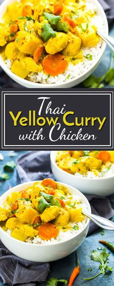 Easy Thai Yellow Chicken Curry | Traditional Thai yellow curry that is full of potatoes, carrots, onions and coconut flavor! It makes a wonderful gluten free and healthy dinner recipe for busy weeknights.