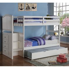 Create the perfect sleepover-ready bedroom with this modern, clean white bunk bed set. This bunk bed features a unique staircase design instead of a ladder, making it easier for any child to reach the top bunk safely.